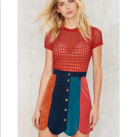R-new Ray Of Light Suede Skirt